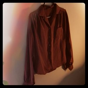 Dark autumn brown/red button-up top with sheen